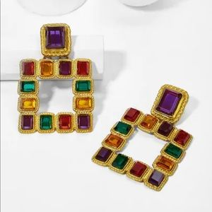 Jewelry - Color Block Open Square Drop Earrings 1pair